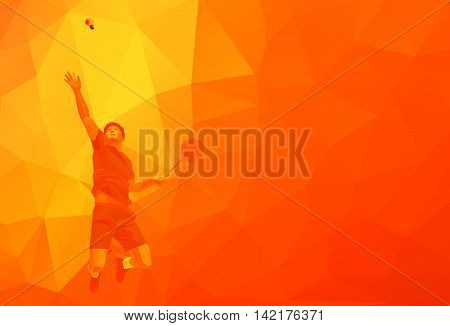 Polygonal geometric professional badminton player on colorful low poly orange background doing smash shot with space for flyer, poster, web, leaflet, magazine. Vector illustration