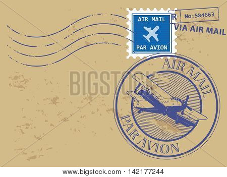 Grunge rubber stamp set with text air mail, par avion, vector illustration