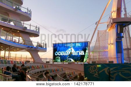 BARSELONA SPAIN - SEPTEMBER 06 2015: The cruise ship Allure of the Seas of Royal Caribbean International company. The view of the ship at evening