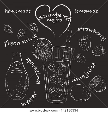 Homemade lemonade recipe sketch. Strawberry mojito with ingredients straberry mint leaves lime. Chalk recipe drawing.