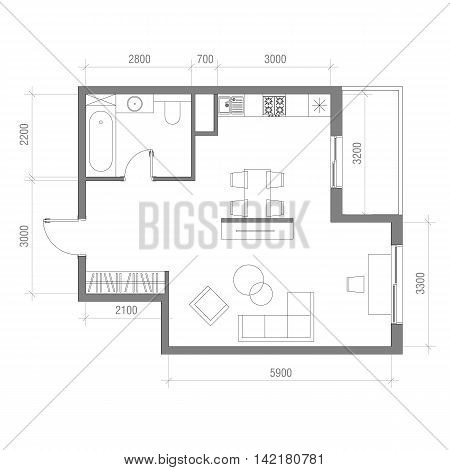 Architectural Floor Plan With Dimensions Studio Apartment Vector Illustration Top View Furniture Set