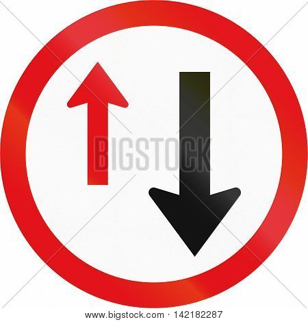 Road Sign Used In The African Country Of Botswana - Give Way To Oncoming Traffic