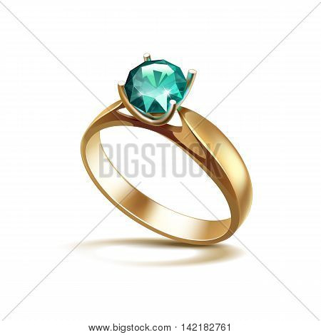 Vector Gold Engagement Ring with Emerald Shiny Clear Diamond Close up Isolated on White Background