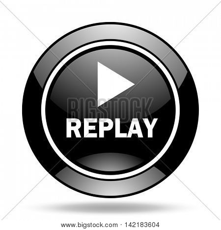 replay black glossy icon
