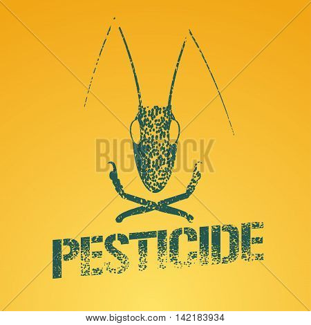 Pesticide vector logo icon symbol emblem. Design element with graphic locust for agriculture farming gardening pest insects control chemicals exterminator work