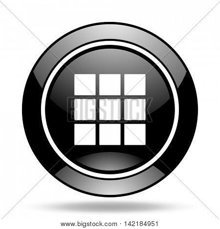 thumbnails grid black glossy icon
