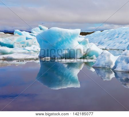 Reflection. Blue and turquoise icebergs and ice floes are reflected in smooth water of the Gulf J�¶kuls�¡rl�³n in Iceland. Sunrise.