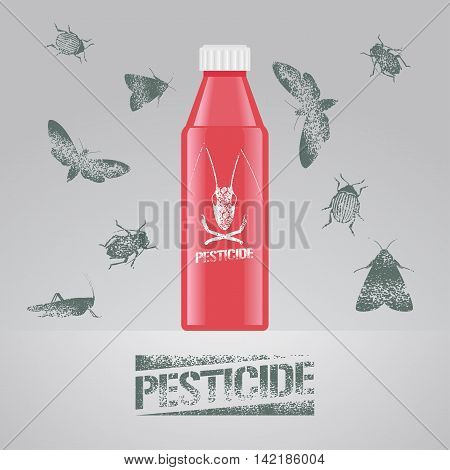 Pest insects bottle with chemical poison vector illustration for farming gardening agriculture. Design element with bugs insects moths and pesticide sign