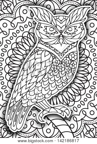 Printable coloring book page for adults - owl design, activity to older children and relax adult. vector coloring book with Islam, Arabic, Indian, ottoman motifs. Oriental outline mandala.