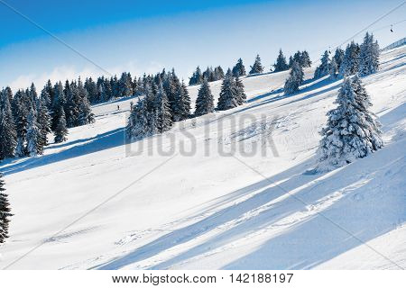 Vibrant panorama of the slope at ski resort, snow pine trees, ski lift, blue sky
