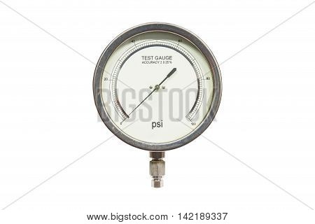 Pressure test gauge isolated on white backgroundanalog Pressure test gauge for pressure test accuracy 0.25%