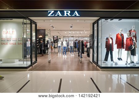 HONG KONG - CIRCA JANUARY, 2016: Zara store at shopping center in Hong Kong. Zara is a Spanish clothing and accessories retailer based in Arteixo, Galicia.