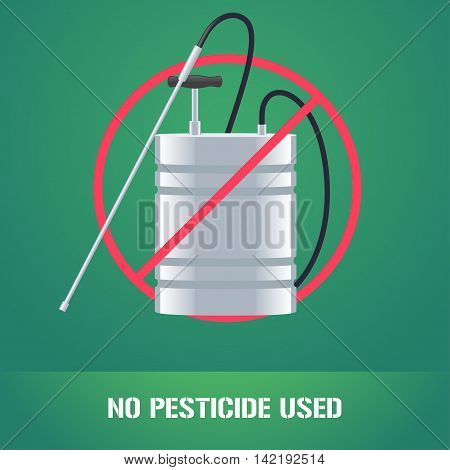 Pesticide sprinkler in prohibition sign vector illustration. Sign icon emblem for eco farming gardening agriculture. No pesticide used sign