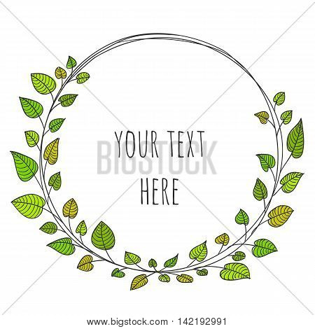 Floral design in circle. Leaves wreath design. Round cute leaf decoration pattern.