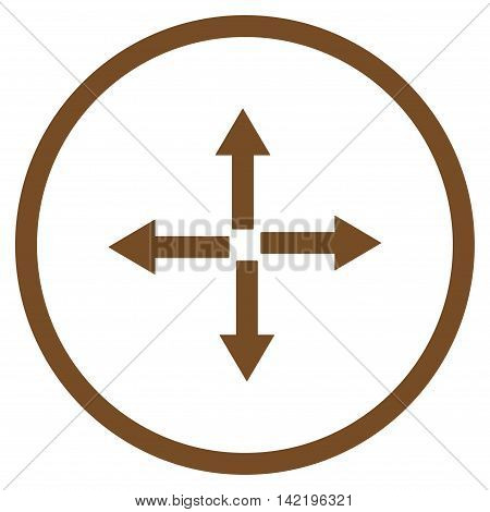 Expand Arrows vector icon. Style is flat rounded iconic symbol, expand arrows icon is drawn with brown color on a white background.