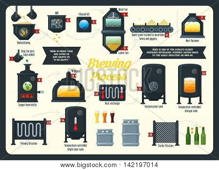 Beer brewing process infographic. Flat style. Vector illustration