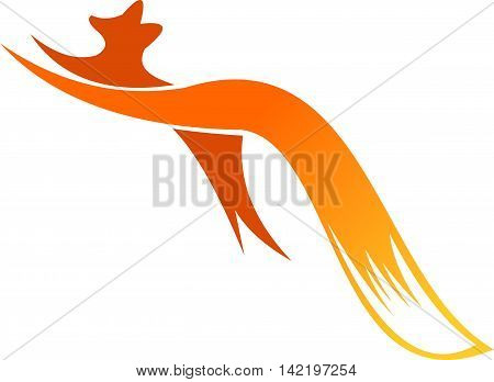 stock logo illustration jumping fox with long tail