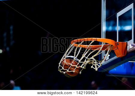 Basketball Ball Going Through The Net