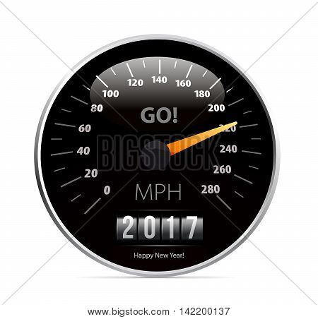2017 year Calendar speedometer car. Vector illustration