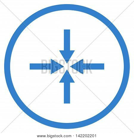 Impact Arrows vector icon. Style is flat rounded iconic symbol, impact arrows icon is drawn with cobalt color on a white background.