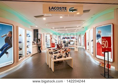 HONG KONG - CIRCA JANUARY, 2016: Lacoste store in Hong Kong. Lacoste is a French clothing company.
