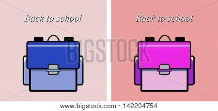 Backgrounda scene, flat style vector illustration ofschool bag.