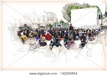 people watch sports near Hotel de Ville in Paris, France. Vintage painting, background illustration, beautiful picture, travel texture