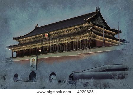 Gate of Heavenly Peace - entrance to the Palace Museum in Beijing. Vintage painting, background illustration, beautiful picture, travel texture