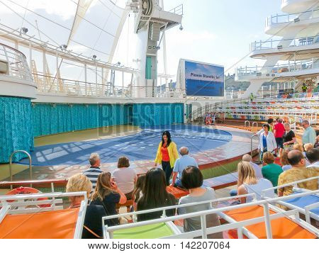 BARSELONA SPAIN - SEPTEMBER 06 2015: The cruise ship Allure of the Seas of Royal Caribbean International company. The view of the ship at day