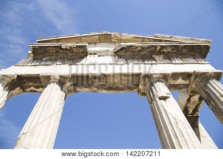 Remains of the ancient Roman Agora in Athens Greece