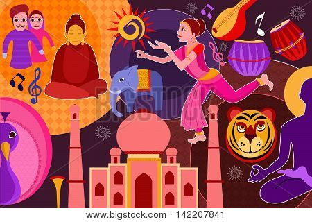 vector illustration of collage displaying rich cultural heritage of India