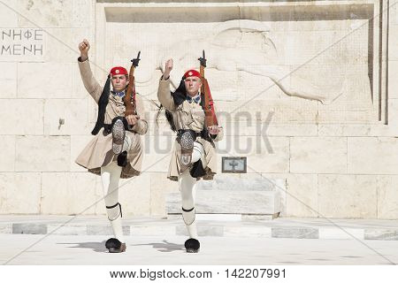 The Guard in front of the Greek Parliament May 17. 2014. Athens Greece