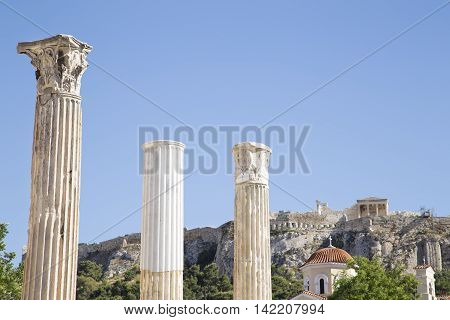 View of Acropolis from Monastiraki Square in Athens
