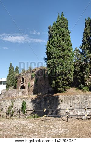 The Mausoleum of Augustus Tomb built by Roman Emperor Augustus in 28 BC on The Campus Martius. Rome. Itay