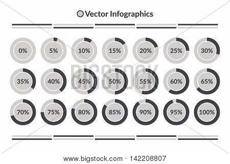 Vector Infographics. 0 to 100 percent pie charts grey isolated circle diagrams.