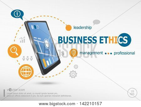 Business Ethics Concept And Realistic Smartphone Black Color.