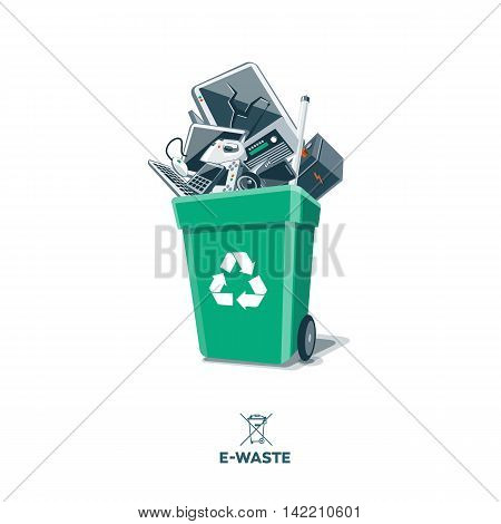 Electronic waste in green recycling bin with discarded electrical and electronic devices such as computer monitor cell phone radio television video camera keyboard car battery iron and mouse. Isolated e-waste in garbage can concept on white background.