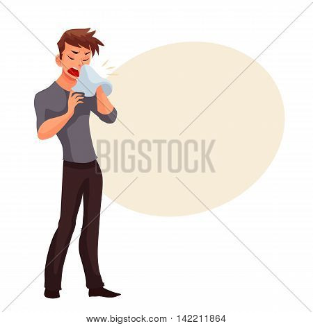Sneezing young man blowing his nose, cartoon style illustration isolated on white background. Guy having cold, seasonal flu running nose, feeling unwell