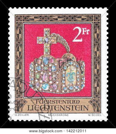 LIECHTENSTEIN - CIRCA 1975 : Cancelled postage stamp printed by Liechtenstein, that shows crown.