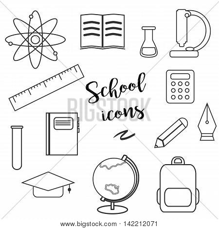 Line Educational And Science Icons. Lineart School Icons.
