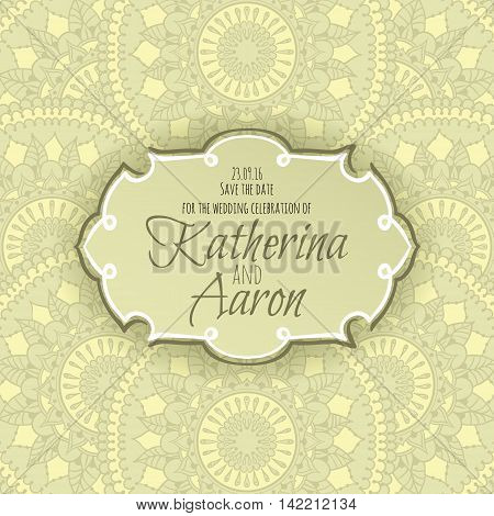 Invitation wedding card with circular floral ornament and place for text. Vector illustration.