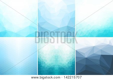 Blue abstract geometric backgrounds. Vector ackgrounds for your design and ideas.