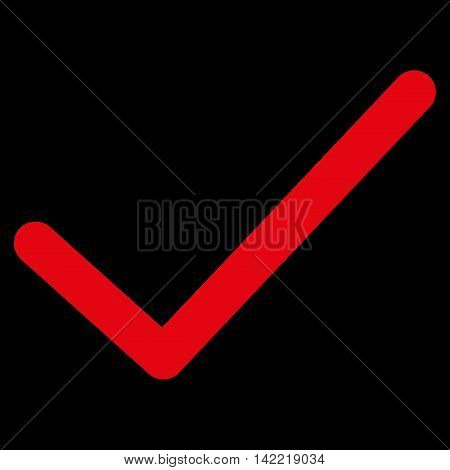 Ok Tick vector icon. Style is contour flat icon symbol, red color, black background.