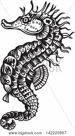 Vector illustration of sea horse, black and white style