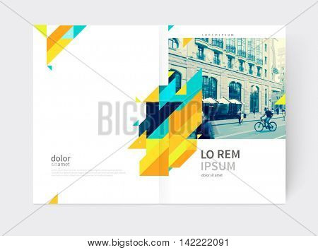 Minimalistic yellow Brochure. Flyer, booklet, annual report cover template. a4 size. modern Geometric Abstract background. Yellow and blue diagonal lines & triangles.