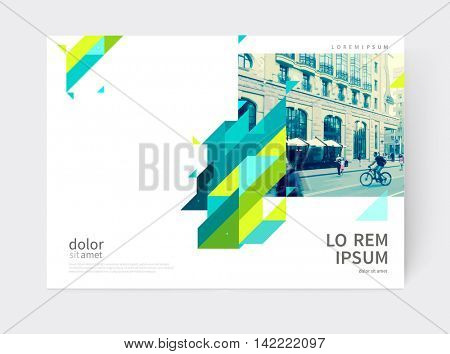 Minimalistic Brochure design. Annual report cover template. a4 size. Blue, yellow and green diagonal lines & triangles.