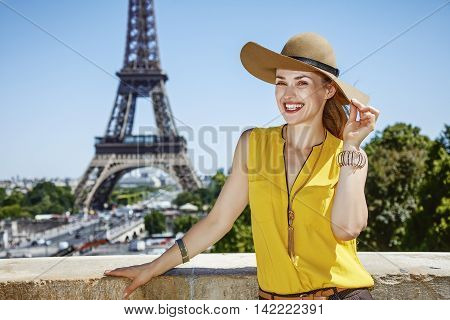 Happy Young Woman In Bright Blouse In Paris, France