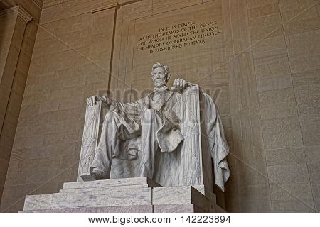 Statue of the president Abraham Lincoln in Washington D.C. United States. It was sculpted by Daniel Chester French and carved by the Piccirilli Brothers. The statue was unveiled in 1922.