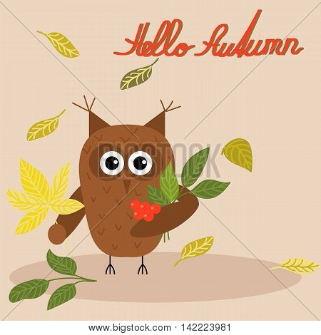 Owl with a bouquet of autumn leaves, falling leaves, text, hand lettering, cute, vector illustration