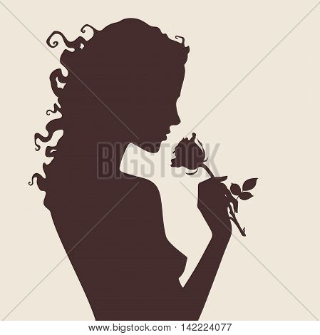 Vector illustration silhouette of beautiful curly girl with rose flower in profile isolated